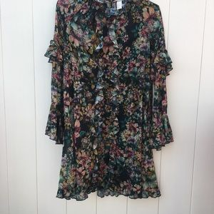 H&M long sleeved floral boho dress